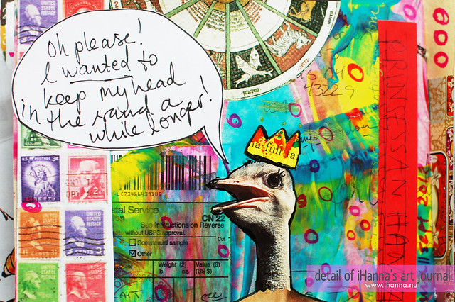 Art Journal Detail: Talking ostrich