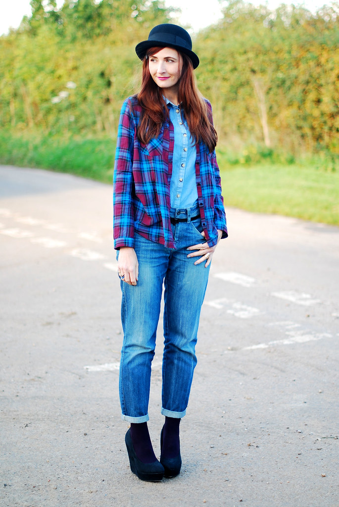 Bowler Hat, Denim and Plaid