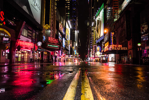 Deserted Times Square During Hurricane Sandy