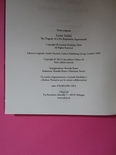 Lucinda Hawksley, Lizzie Siddal. Odoya 2012. [responsabilità grafica non indicata]. Colophon (part.), 1