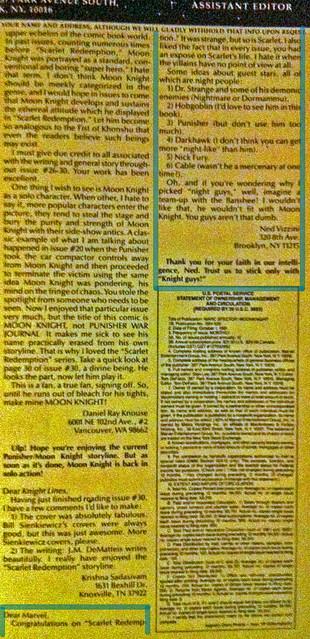 Ned Vizzini Letter in Moon Knight #36 - 1992