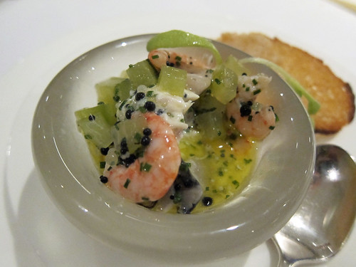 Rillette of Smoked Cornish Mackerel with a Vinaigrette of Poole Prawns, Oysters, Sea Water Jellies, Cucumber and Caviar