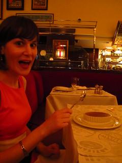 Celia looking very excited by her creme brulee! NYC