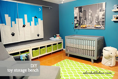 diy toy storage and seating solution in nursery
