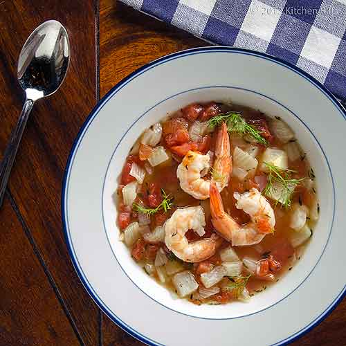 Fennel Soup with Shrimp and Beans in White Bowl