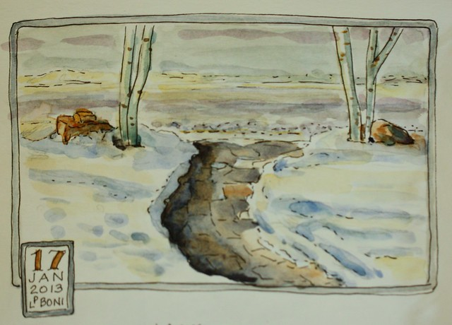 Front walkway in the Early Morning - Watercolor Sketch