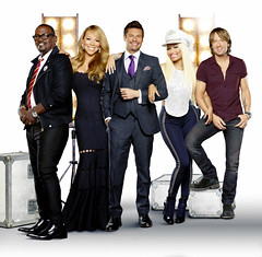 From L to R Randy Jackson, Mariah Carey, Ryan Seacrest, Nicki Minaj and Keith Urban _2