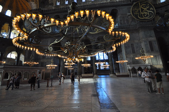 Massive central chandelier and two of the medallions - Hagia Sophia