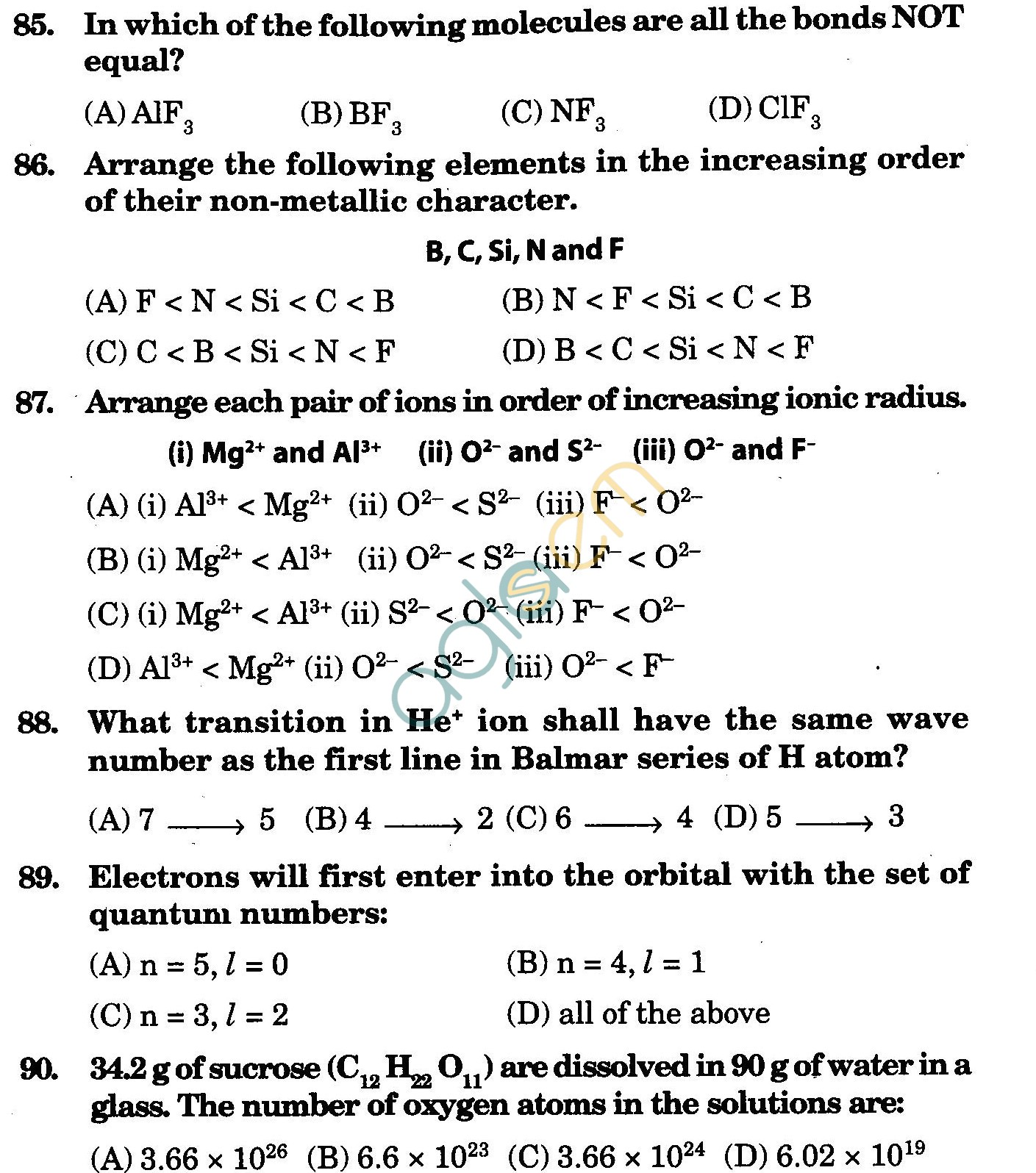 NSTSE 2009 Class XI PCB Question Paper with Answers - Chemistry