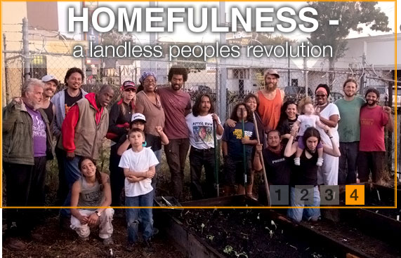 A group of people of different ages and races stand together at the Homefulness groundbreaking. The words Homefulness: A Landless Peoples Revolution are at the top of the picture