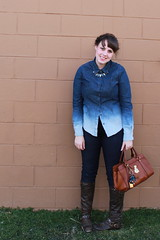 "Texas Tux Outfit: Ombré chambray shirt, skinny jeans, brown leather boots, maiden braids, Lauren by Ralph Lauren ""Winslow Satchel"" bag"