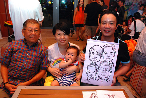 caricature live sketching for Mark Lee's daughter birthday party - 19