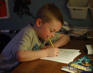 Jack doing homework