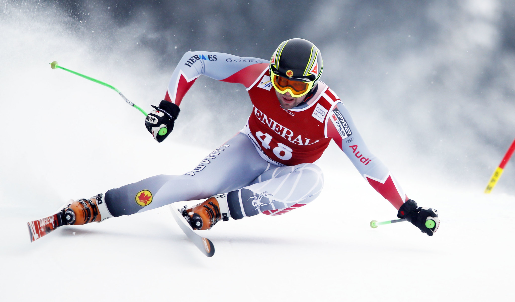 Manuel Osborne-Paradis carves hard in the Kitzbühel super-G.