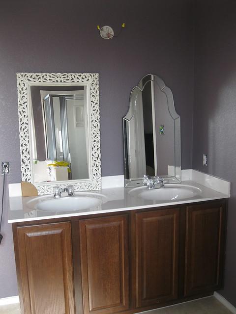 which mirror purple bathroom