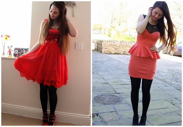 Chiara Fashion - red sequin dress, Vivienne Westwood heels, pink peplum dress