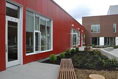 Kindergarten & Early Learning Classroom Exterior, Courtyard Detail:  Thornton Creek Elementary, Seattle Public Schools