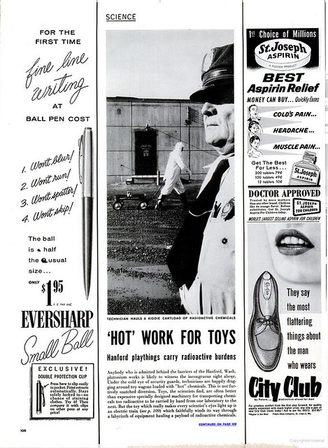 "March 28 1955 Hanford article, page 1, ""Hot Work for Toys"""