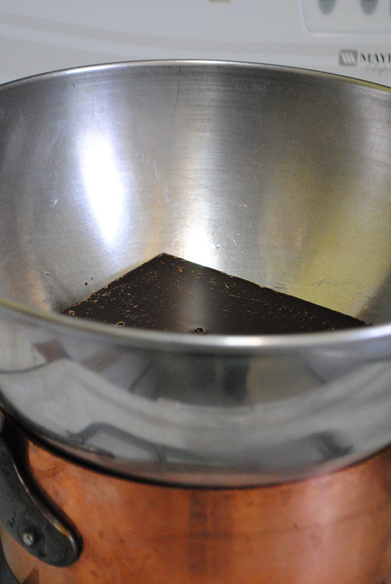 add chocolate to stainless steel bowl