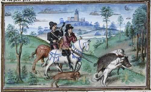 15th century illuminated manuscript miniature: Henri de Ferrières, Les Livres du roy Modus et de la royne Ratio 64