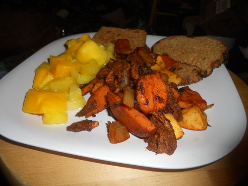Mock pork, apples, and sweet potatoes