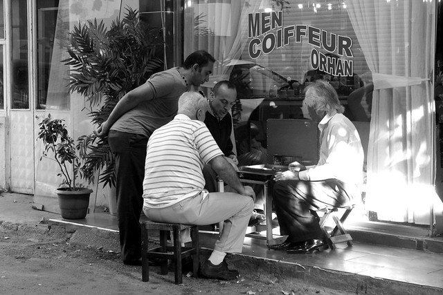 Men playing backgammon in Karakoy, Istanbul
