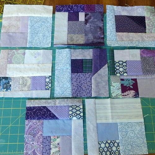 8 purple scrap blocks