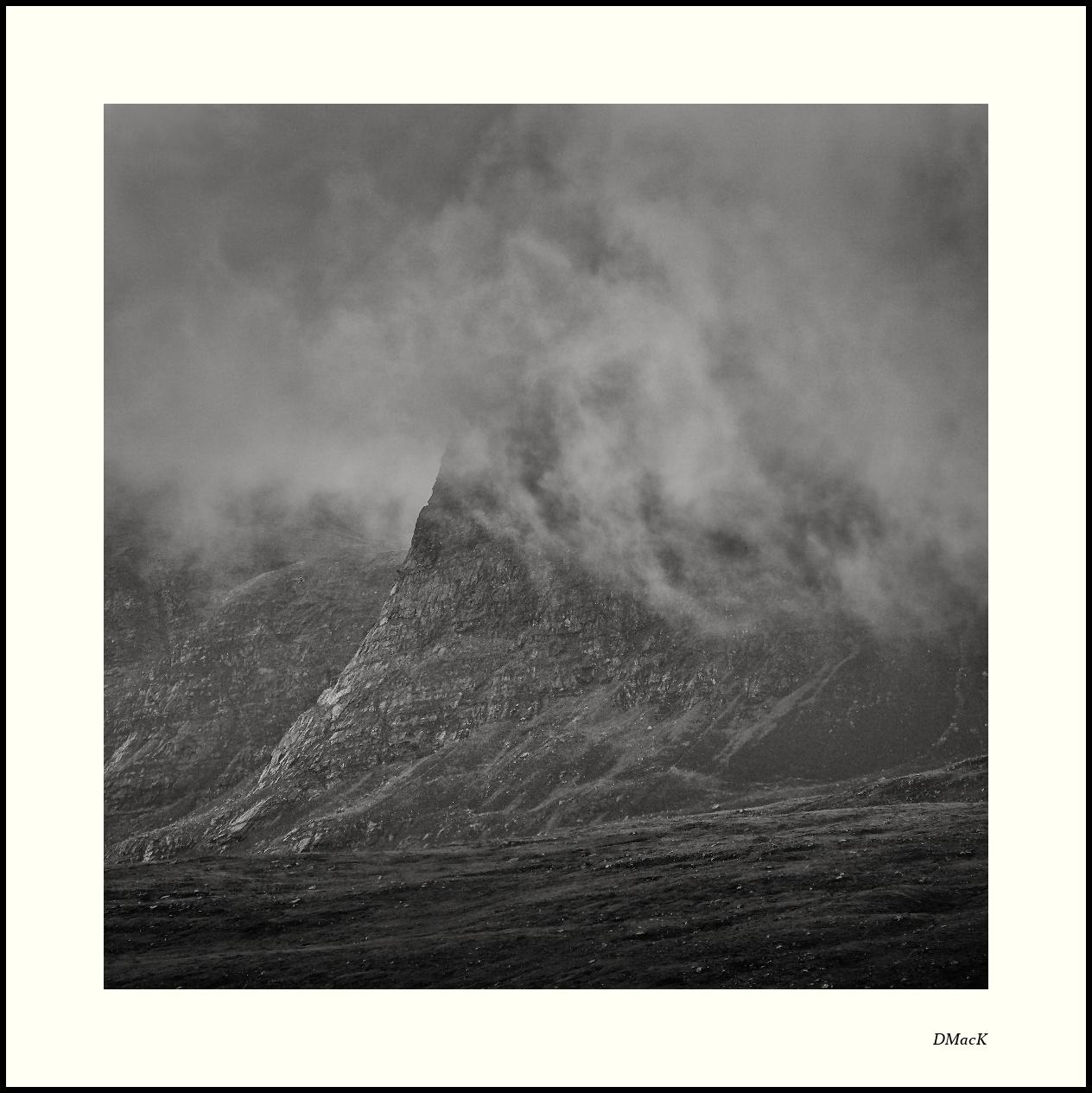 Beinn nan Caorach climbs into cloud