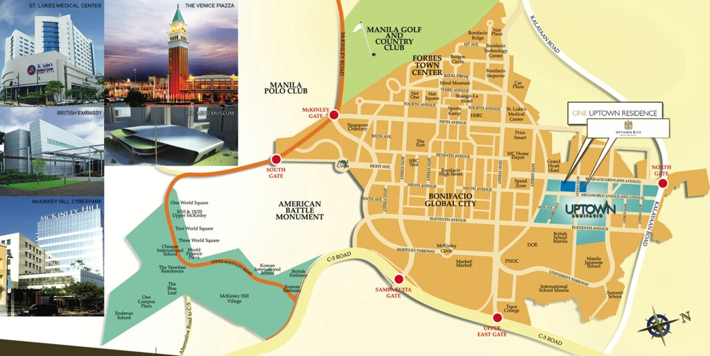 Ritz Location Map BGC MAP Uptown Bonifacio Situated Up North 15 Hectare  Township Community