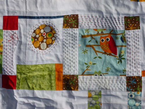 Sampler quilt. Starting to quilt 'kantha' style.