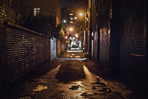 Graffiti alley at night
