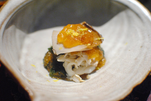 Soft Simmered Abalone and Blue Crab with Wakame Seaweed and Apple Vinegar Jelly