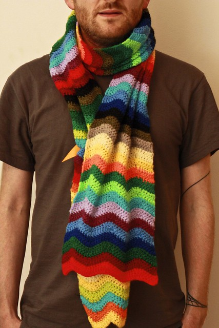 Rainbow Ripple Stitch Crochet Scarf