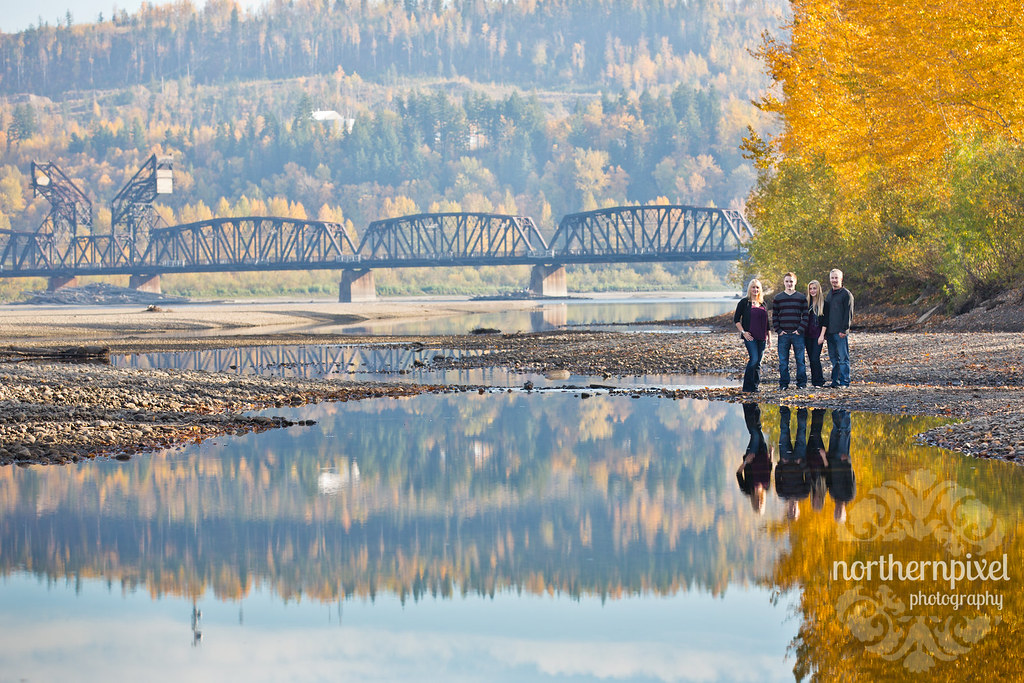 Family Photo Reflections - Prince George BC Cottonwood Island Park Nechako River Bridge