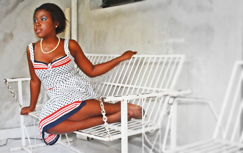 belle jeune fille, polka dot dress,haiti living,