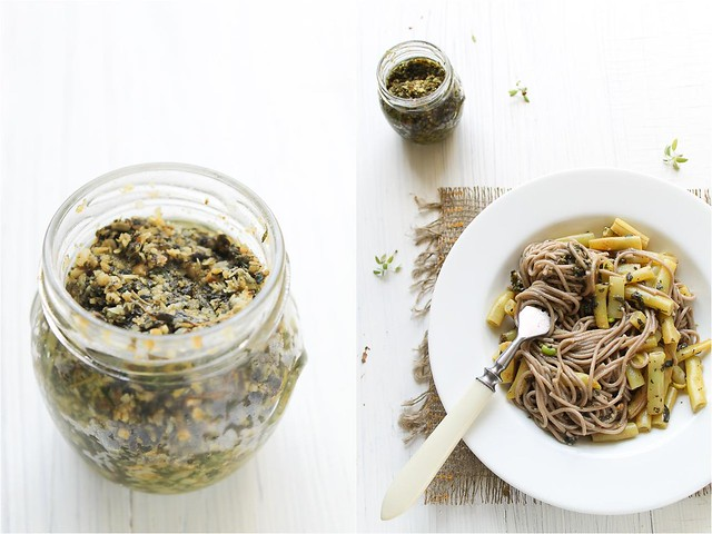 Soba Noodles with Yellow Beans and Pesto