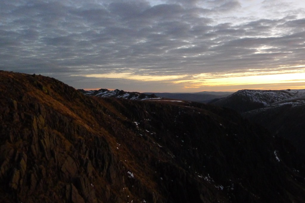 The Garbh Coire cliffs at sunrise