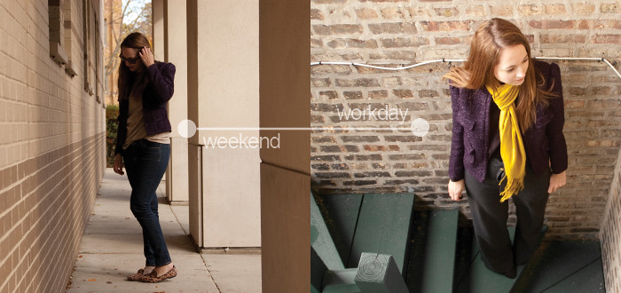 dash dot dotty, weekend to workday, transitional pieces, business casual, jacket two ways, purple tweed jacket