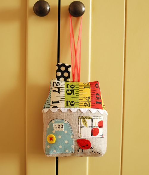 measuring tape fabric house ornament