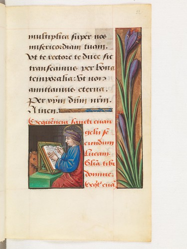Evangelist portrait of St. Luke in a 16th century manuscript