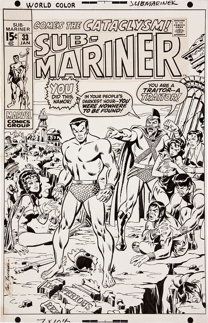 Sub-Mariner 33 1971 original cover art by Sal Buscema
