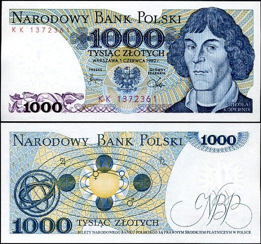 1000 Zlotých Poľsko 1982, Pick 146c