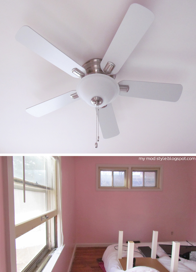 Our Bedroom new fan and pink walls