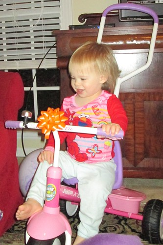 Lucy and her new tricycle