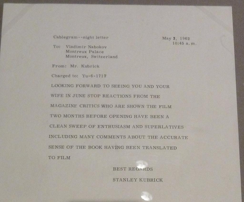 Kubrick Переписка с Набоковым по поводу экранизации Лолиты письмо Кубрика Набокову