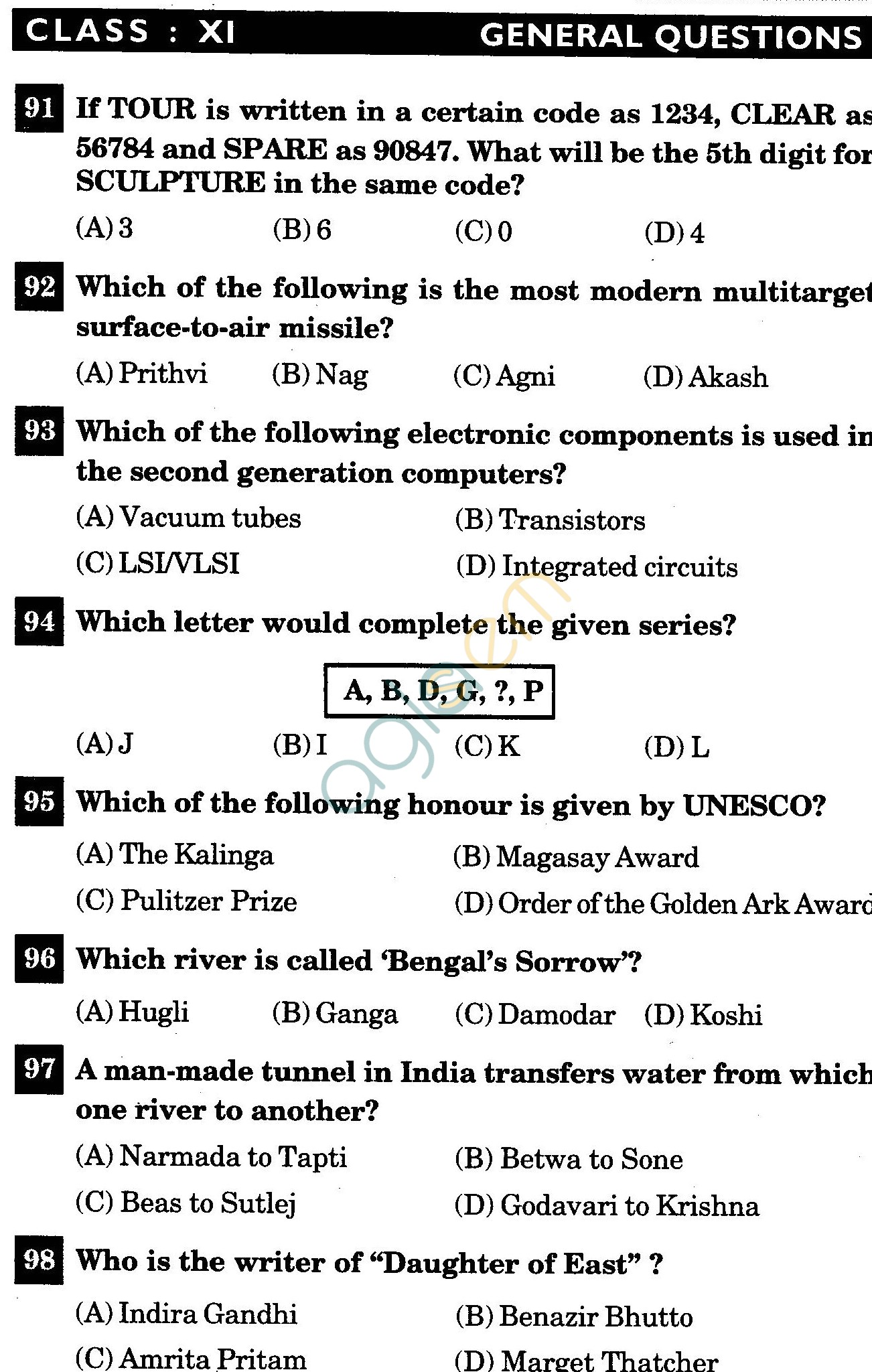 NSTSE 2011 Class XI PCM Question Paper with Answers - General Knowledge