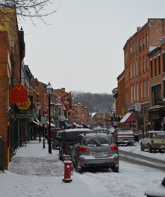 snowy downtown Galena
