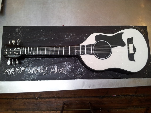 3d acoustic guitar shaped wicked chocolate cake in black white flickr photo sharing. Black Bedroom Furniture Sets. Home Design Ideas