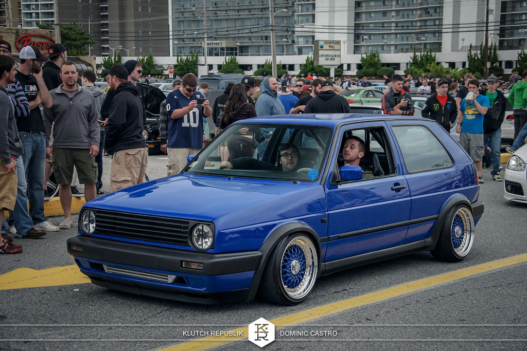 blue vw mk2 golf gti rabbit blue bbs rs at h2oI 2012 3pc wheels static airride low slammed coilovers stance stanced hellaflush poke tuck negative postive camber fitment fitted tire stretch laid out hard parked seen on klutch republik