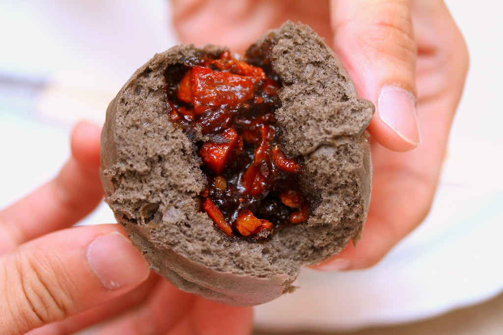 Mouth Restaurant: squid ink char siew bun